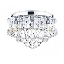 bathroom chandelier in chrome with crystal droplets