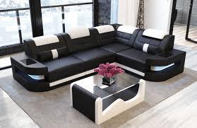 Sofa Dreams Ledersofa Como L Form Schwarz Weiss