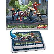 Lego Marvels Super Heroes Avengers Edible Cake Topper Personalized