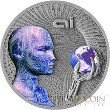 niue island artificial intelligence series code of the future  niue island artificial intelligence series code of the future 2 silver coin 2016 fluorescent uv effect antique finish 2 oz