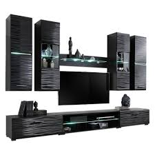 entertainment center for 50 inch tv. MEBLE FURNITURE \u0026 RUGS Modern 4 Entertainment Center Wall Unit With LED Lights 50 Inch TV Stand, High Gloss Black For Tv T