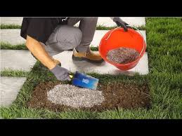 how to lay stepping stones on grass