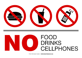 No Cell Phone Sign Printable No Food Or Drink Signs Poster Template