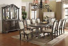 new kiera 108 formal gray oak finish carved wood linen dining room table set