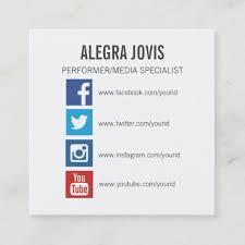 Social Media Icons Symbols Square Business Card