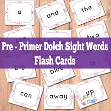 Pre Primer Sight Words Flash Cards Itsy Bitsy Fun