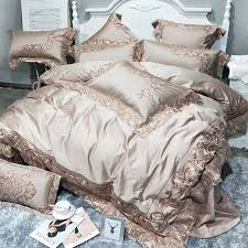golden pink 100s egyptian cotton luxury royal bedding set king queen size duvet cover embroidery bedlinen