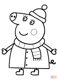 Small Picture Mummy Pig in Winter Suit coloring page Free Printable Coloring Pages