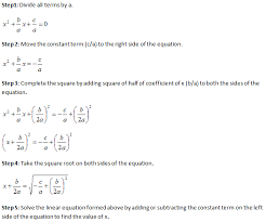 a quadratic equation is solved by completing the square method by using the following steps