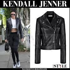 kendall jenner in black leather biker balenciaga jacket black leggings and white marble balenciaga sneakers
