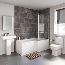 Right L Shaped Shower Bath 1700mm Bathroom Suite WC Toilet Wash Basin