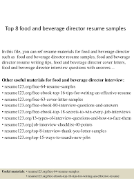 Top 8 food and beverage director resume samples In this file, you can ref  resume ...