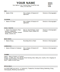 sample dance resume