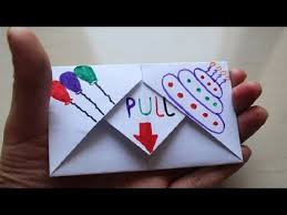 Folded Birthday Card Diy Pull Tab Origami Envelope Card Letter Folding Origami Birthday Card Greeting Card