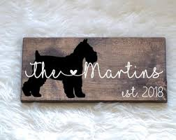 last name wood sign with schnauzer silhouette wedding signs last name wedding gift dog wedding gift anniversary gift entryway