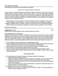 Construction Coordinator Or Project Manager Resume Template
