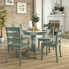 round kitchen table set. 5 Piece Round Dining Table Set With Ladder Back Chairs And Rubber Hardwood. Kitchen