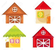 Set Of Cartoon Houses On White Background Farm House