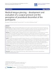 pdf cal tongue piercing development and evaluation of a surgical protocol and the perception of procedural disfort of the partints