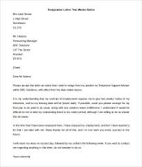 Sample Notice Letters Two Weeks Notice Resignation Letter Sample On Letters Two Weeks