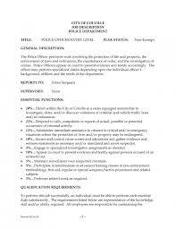 Police Officer Job Description For Resume
