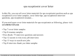 Image Gallery of Innovation Receptionist Cover Letter 16 Spa Receptionist  Cover Letter