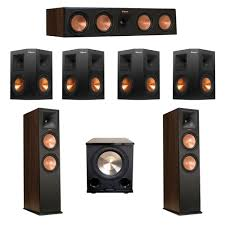 klipsch 7 1 walnut system with 2 rp 280f tower speakers 1 rp 450c center speaker 4 klipsch rp 250s ebony surround speakers 1 bic acoustech platinum