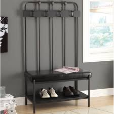 Entryway Shoe Storage Bench Coat Rack Decor Metal Shoe Storage Bench With Coat Rack And Black Leather 29