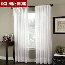 BHD soild white tulle sheer window curtains for living room the ...
