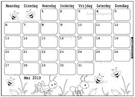 Mei 2019 Kalender Thema Kleurplaat Kleurplaat Kalender