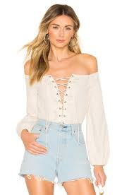 Superdown Size Chart Superdown Lulu Lace Up Bodysuit In Nude White Revolve