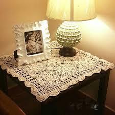 Handmade crocheted doilies 60cm*60cm beige+white Table cloth for table  Cover Crochet Doilies
