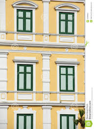 Concrete Window Design Old Building Green Color Window Design Stock Image Image