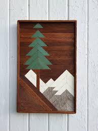 wooden pine tree wall art