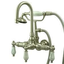 kingston brass vintage satin nickel 3 handle fixed wall mount bathtub faucet
