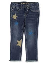 Vigoss Girls Glittery Star Fray Ankle Skinny Jeans