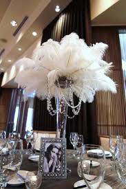 gatsby style decor unique old prom ideas on feather and pearl center pieces  glam feathers pearls