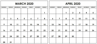 April 2020 Template Blank March April 2020 Calendar Printable Template