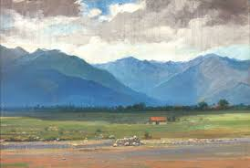 sg thakur singh 1929 landscape oil painting 14 x 10 inches