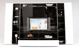 source via black stained solid wood sotrage cabinet entertainment center with open shelves and glass doors