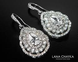 cubic zirconia bridal earrings teardrop crystal wedding earrings cz chandelier earrings sparkly crystal earrings prom crystal earrings 36 50 usd