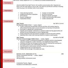 Education Resumes Examples Of Teacher And Cover Letters Section