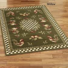 fine green kitchen rug with roster theme