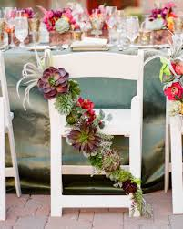 Dusty blue pink gold classic wedding ideas Blush Pink Succulent Chair Decorations The Wedding Shoppe 36 Ideas For Using Succulents At Your Wedding Martha Stewart Weddings