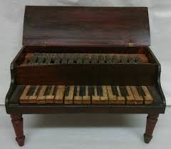 Toy Piano, 1890-1910, pine, metal, paint and paper, H