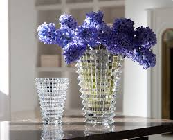 Flower Baccarat Vase Blue Simple Classic Decoration Ideas Themes Sample  Wooden Brown Bricks Glasses ...