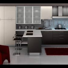 Modern Kitchen Design Gallery With Red Elegant Chair Furniture And White  Simple Counter Table Sets Plus