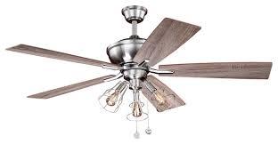 clybourn 52 ceiling fan satin nickel with driftwood walnut blades