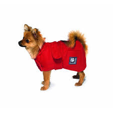Freckles Designs Dog Coats Red Dog Robe By Danish Design Dog Drying Coats