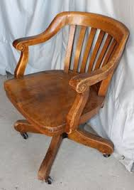 Antique Oak Swivel Office Chair With Arms  Strong And Sturdy  EBay Wooden Desk Chair25